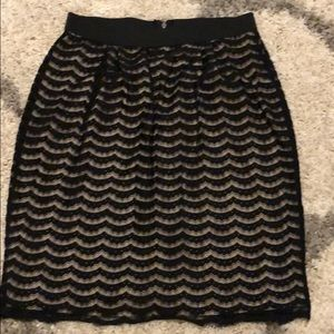 Lace black and cream skirt.
